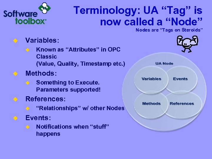 """Terminology: UA """"Tag"""" is now called a """"Node"""" Nodes are """"Tags on Steroids"""" u"""