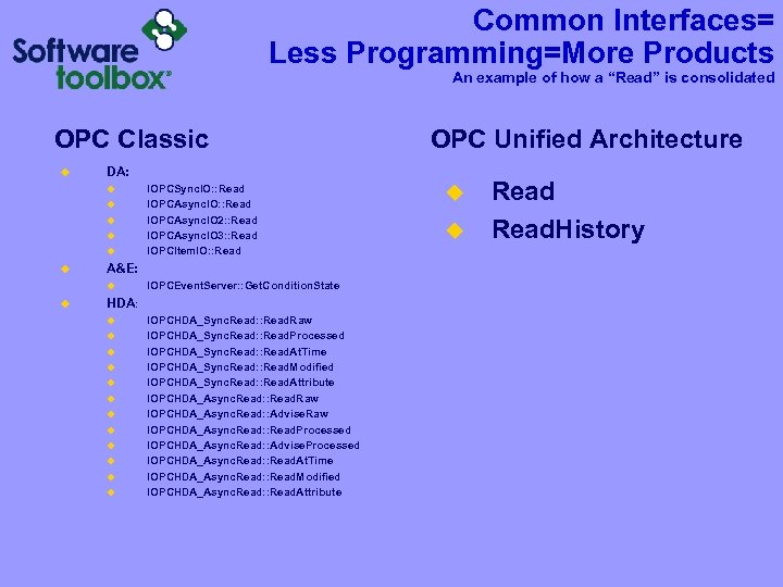 """Common Interfaces= Less Programming=More Products An example of how a """"Read"""" is consolidated OPC"""