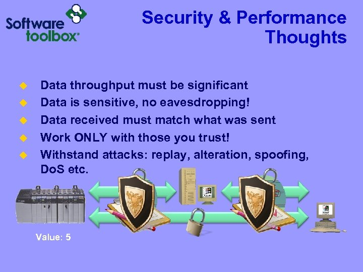 Security & Performance Thoughts u u u Data throughput must be significant Data is