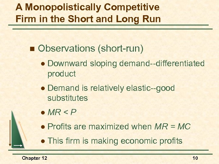 A Monopolistically Competitive Firm in the Short and Long Run n Observations (short-run) l