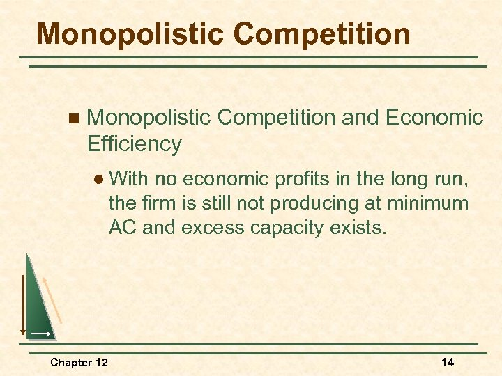 Monopolistic Competition n Monopolistic Competition and Economic Efficiency l With no economic profits in