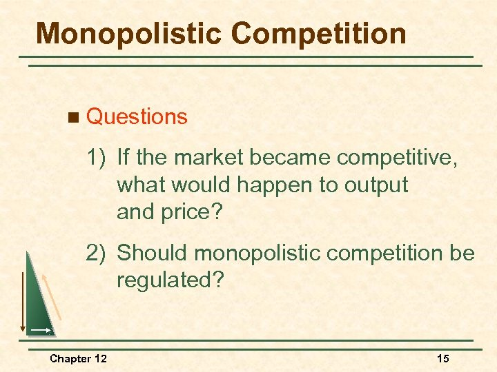 Monopolistic Competition n Questions 1) If the market became competitive, what would happen to