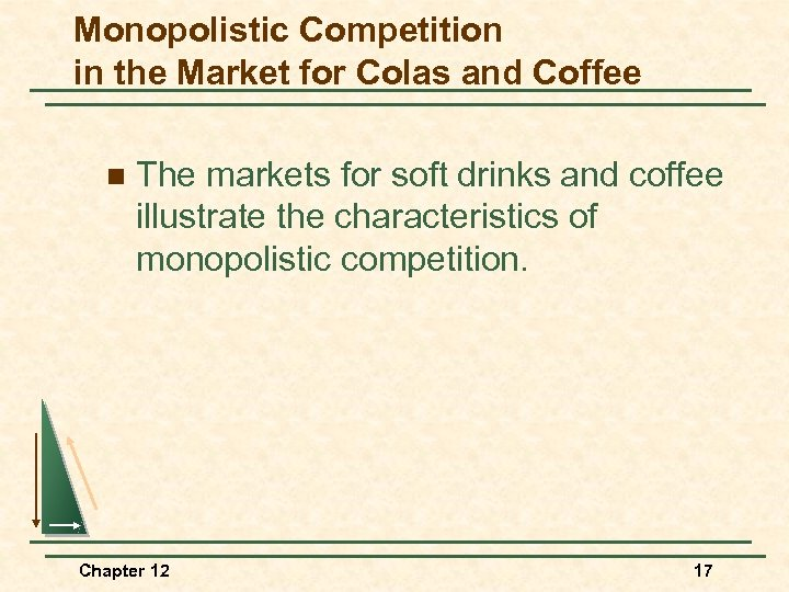 Monopolistic Competition in the Market for Colas and Coffee n The markets for soft