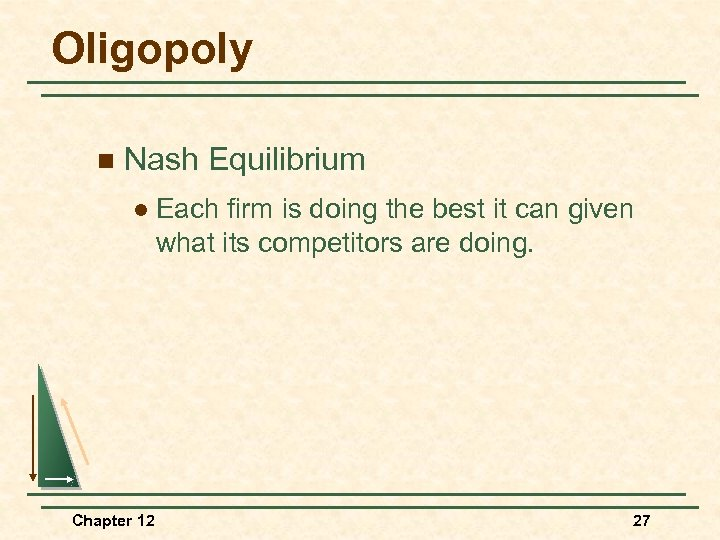 Oligopoly n Nash Equilibrium l Chapter 12 Each firm is doing the best it