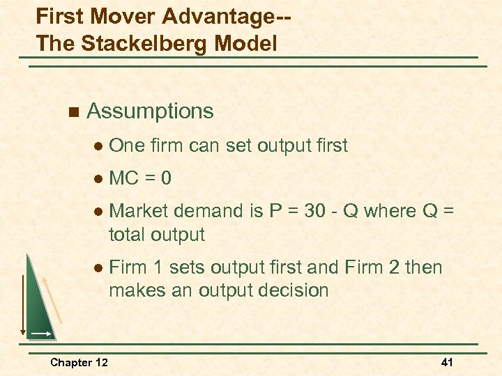 First Mover Advantage-The Stackelberg Model n Assumptions l One firm can set output first