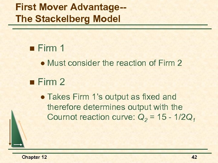 First Mover Advantage-The Stackelberg Model n Firm 1 l n Must consider the reaction