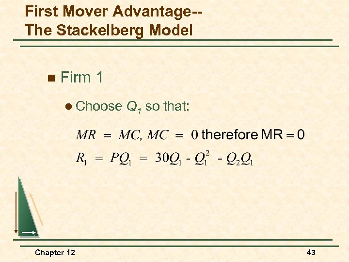 First Mover Advantage-The Stackelberg Model n Firm 1 l Choose Chapter 12 Q 1