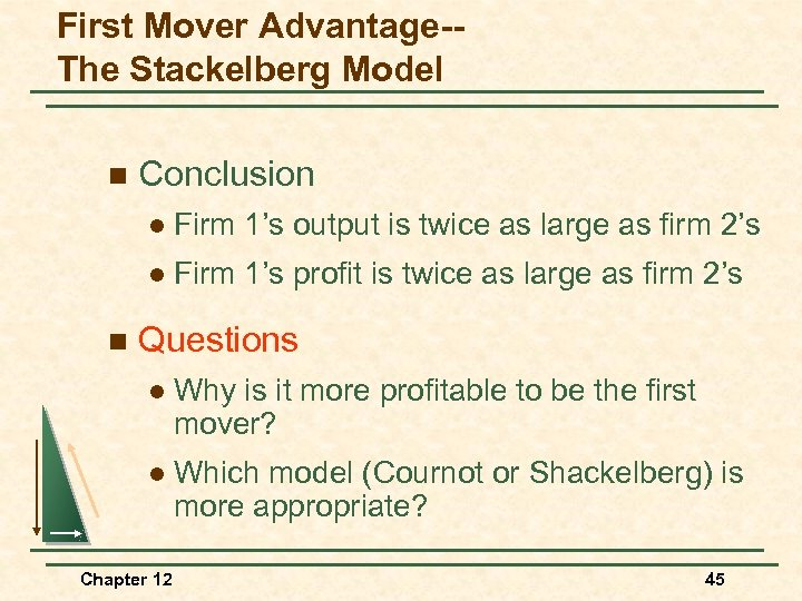 First Mover Advantage-The Stackelberg Model n Conclusion l l n Firm 1's output is