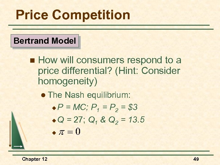 Price Competition Bertrand Model n How will consumers respond to a price differential? (Hint: