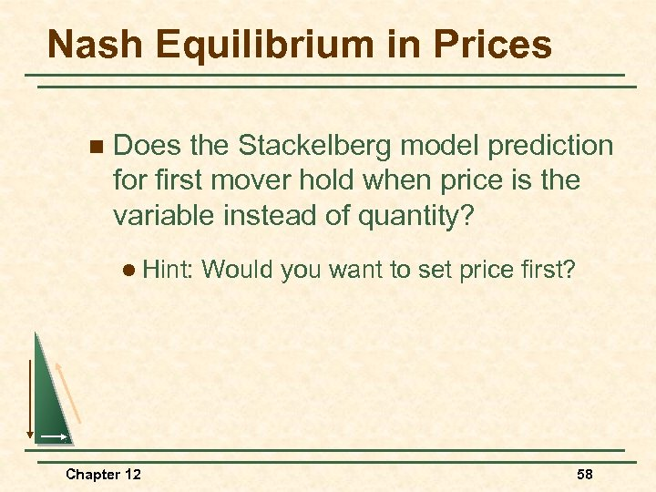 Nash Equilibrium in Prices n Does the Stackelberg model prediction for first mover hold