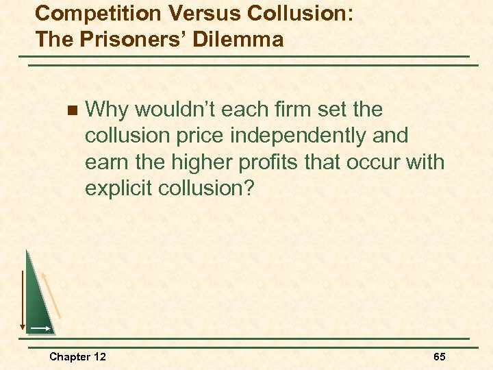 Competition Versus Collusion: The Prisoners' Dilemma n Why wouldn't each firm set the collusion