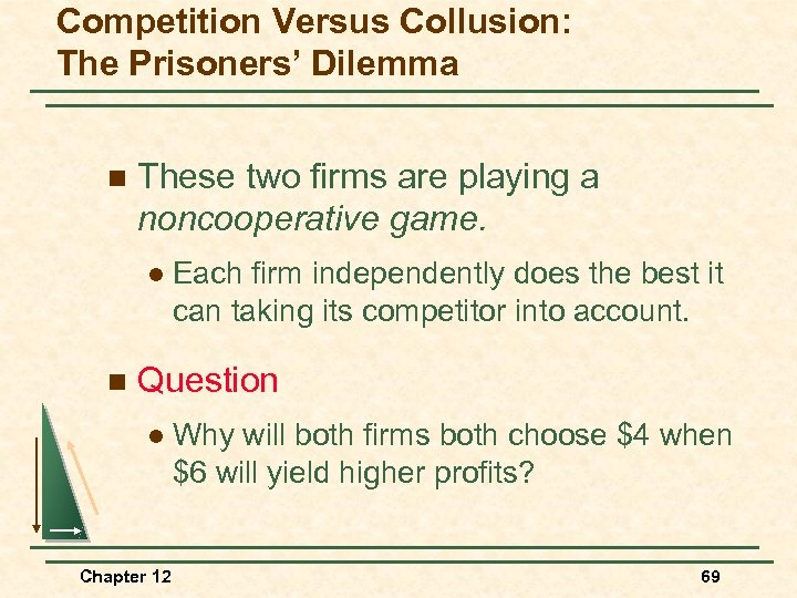 Competition Versus Collusion: The Prisoners' Dilemma n These two firms are playing a noncooperative