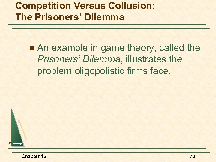 Competition Versus Collusion: The Prisoners' Dilemma n An example in game theory, called the