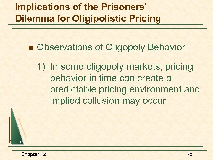 Implications of the Prisoners' Dilemma for Oligipolistic Pricing n Observations of Oligopoly Behavior 1)
