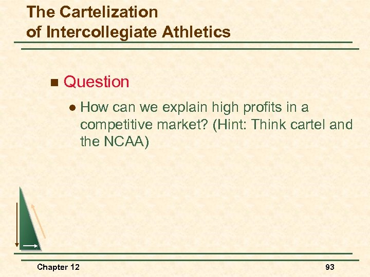 The Cartelization of Intercollegiate Athletics n Question l Chapter 12 How can we explain