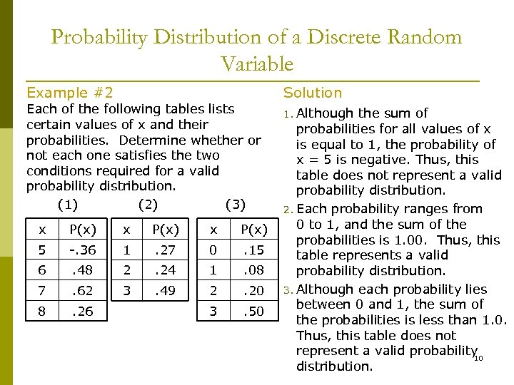 Probability Distribution of a Discrete Random Variable Example #2 Each of the following tables