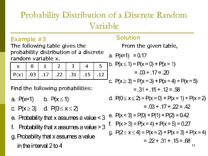 Probability Distribution of a Discrete Random Variable Solution Example #3 The following table gives