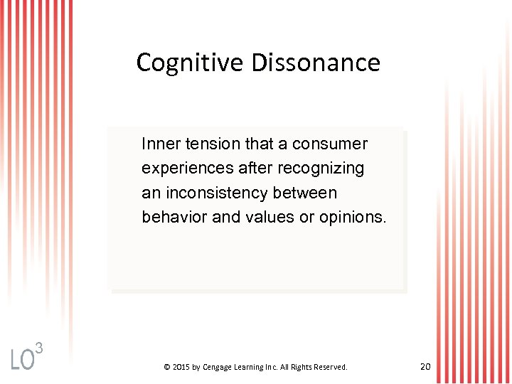 Cognitive Dissonance Inner tension that a consumer experiences after recognizing an inconsistency between behavior
