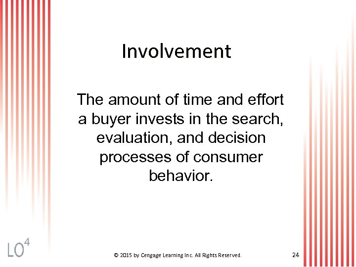 Involvement The amount of time and effort a buyer invests in the search, evaluation,