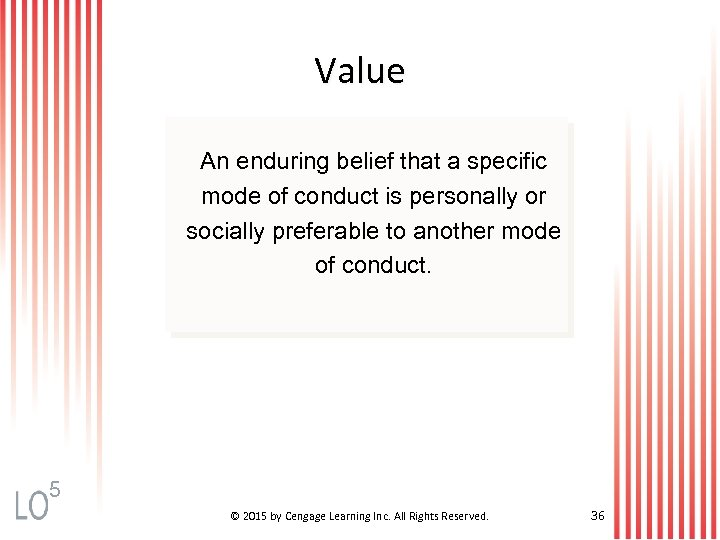 Value An enduring belief that a specific mode of conduct is personally or socially