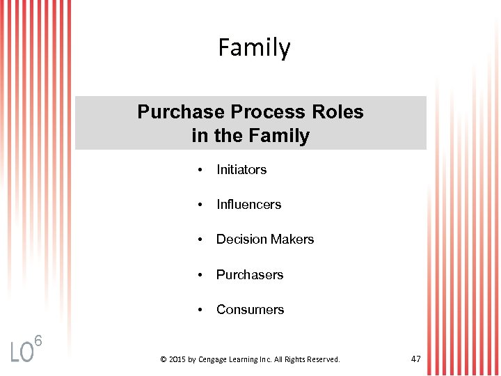 Family Purchase Process Roles in the Family • Initiators • Influencers • Decision Makers