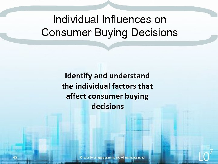Individual Influences on Consumer Buying Decisions Identify and understand the individual factors that affect