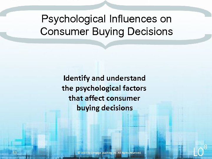 Psychological Influences on Consumer Buying Decisions Identify and understand the psychological factors that affect