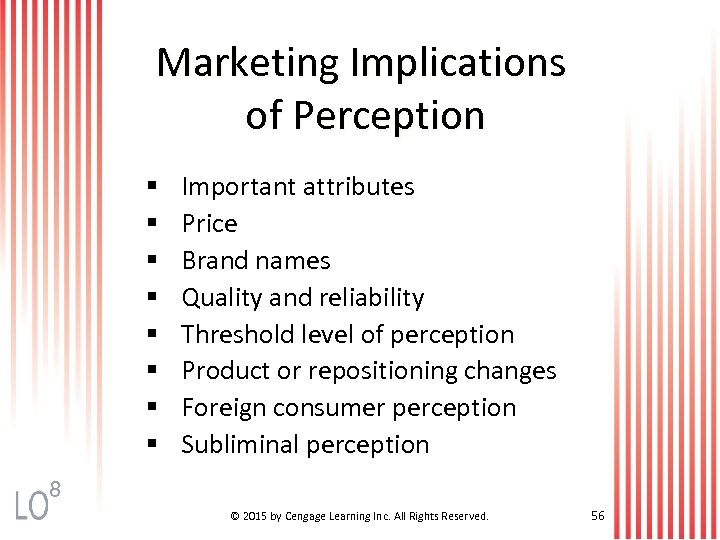 Marketing Implications of Perception § § § § Important attributes Price Brand names Quality