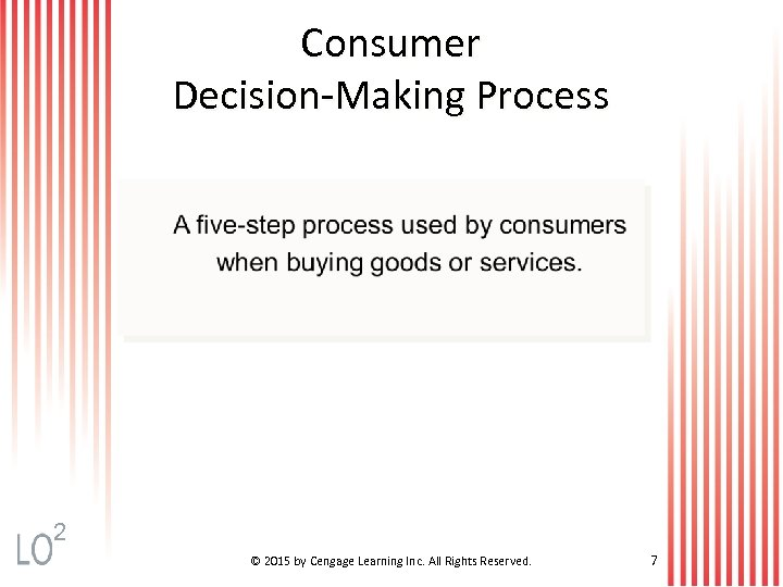 Consumer Decision-Making Process 2 © 2015 by Cengage Learning Inc. All Rights Reserved. 7