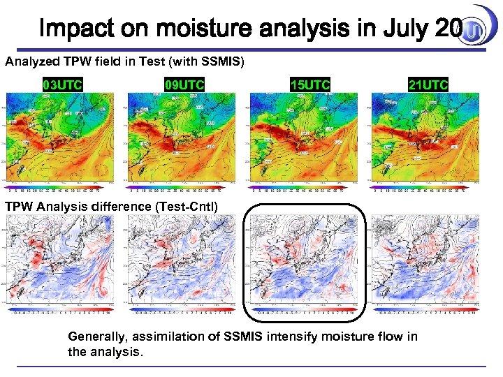 Impact on moisture analysis in July 20 Analyzed TPW field in Test (with SSMIS)