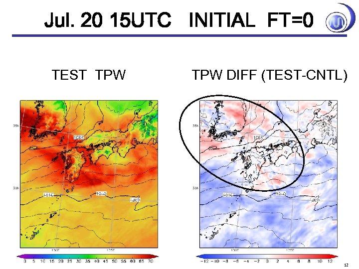 Jul. 20 15 UTC INITIAL FT=0 TEST TPW DIFF (TEST-CNTL) 12