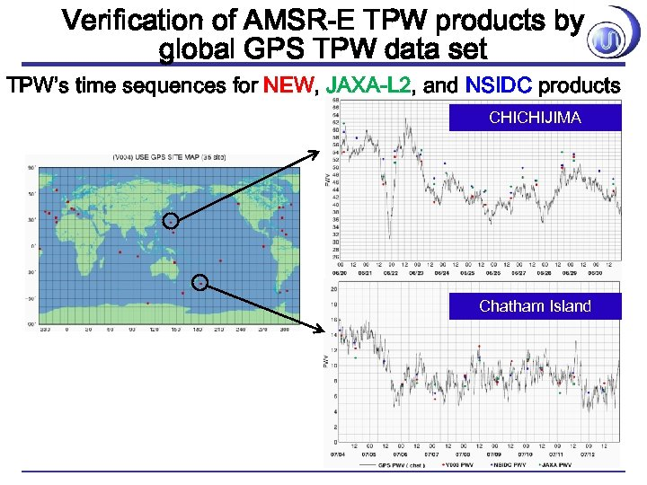 Verification of AMSR-E TPW products by global GPS TPW data set TPW's time sequences