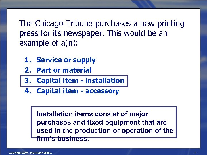 The Chicago Tribune purchases a new printing press for its newspaper. This would be