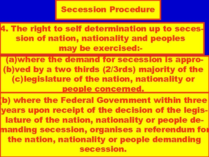 Secession Procedure 4. The right to self determination up to secession of nation, nationality
