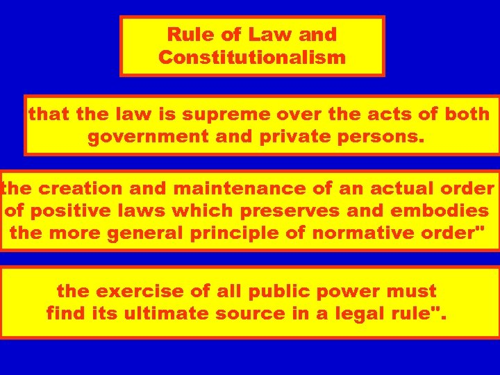 Rule of Law and Constitutionalism that the law is supreme over the acts of