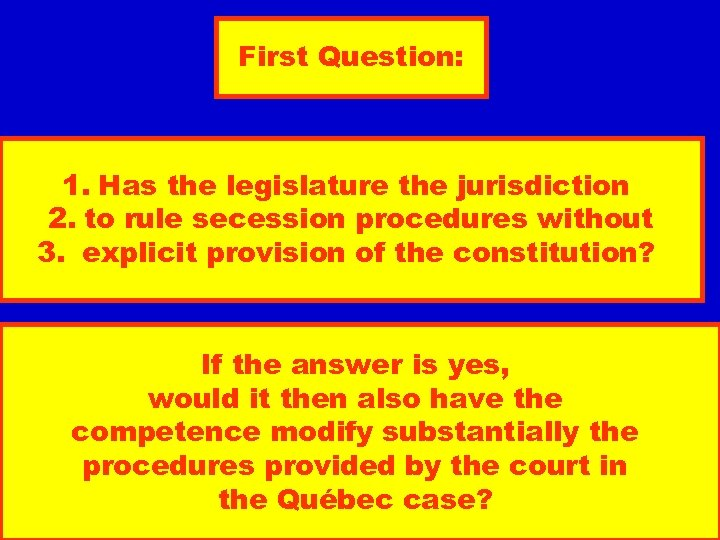 First Question: 1. Has the legislature the jurisdiction 2. to rule secession procedures without