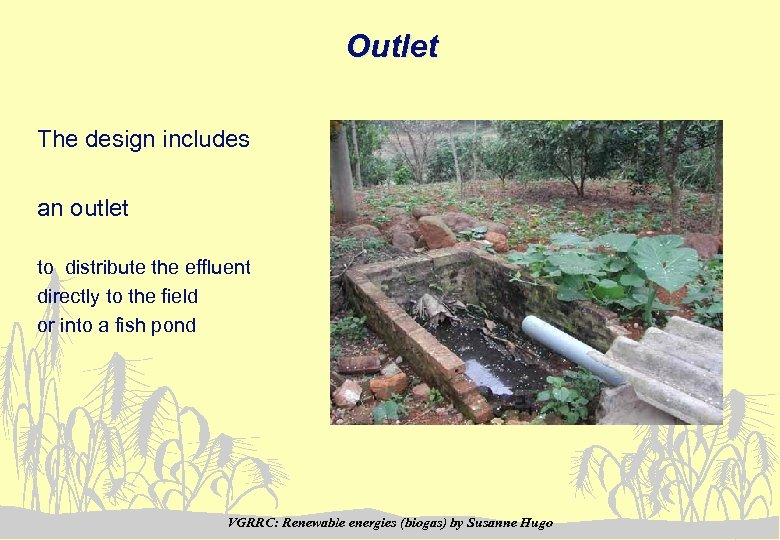 Outlet The design includes an outlet to distribute the effluent directly to the field