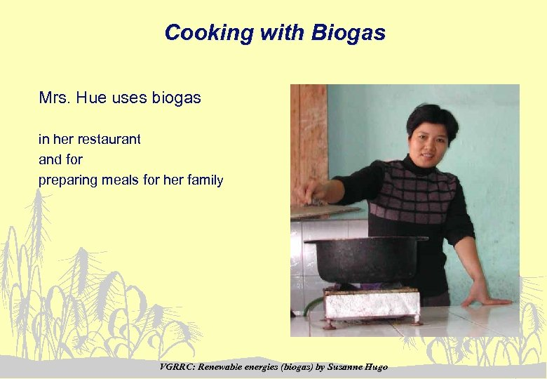 Cooking with Biogas Mrs. Hue uses biogas in her restaurant and for preparing meals