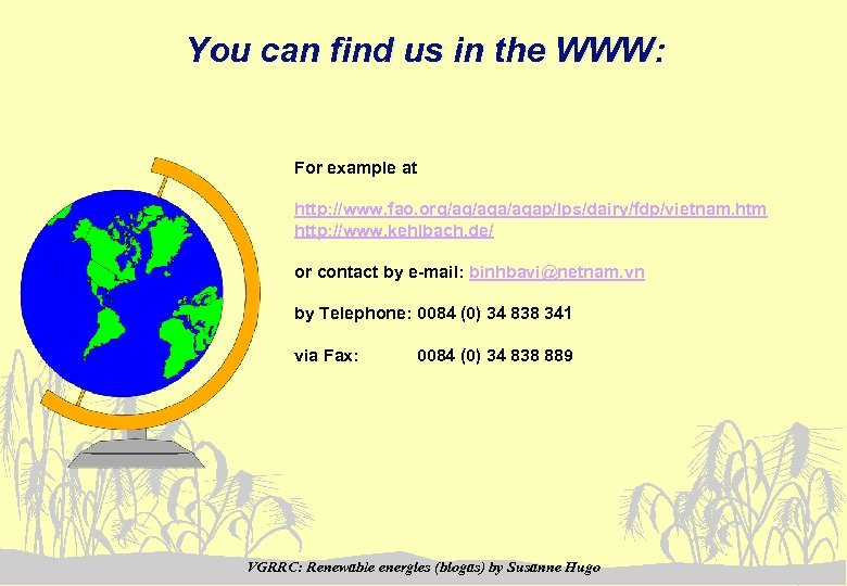 You can find us in the WWW: For example at http: //www. fao. org/ag/agap/lps/dairy/fdp/vietnam.