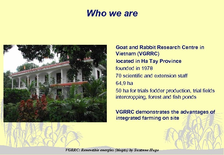 Who we are Goat and Rabbit Research Centre in Vietnam (VGRRC) located in Ha