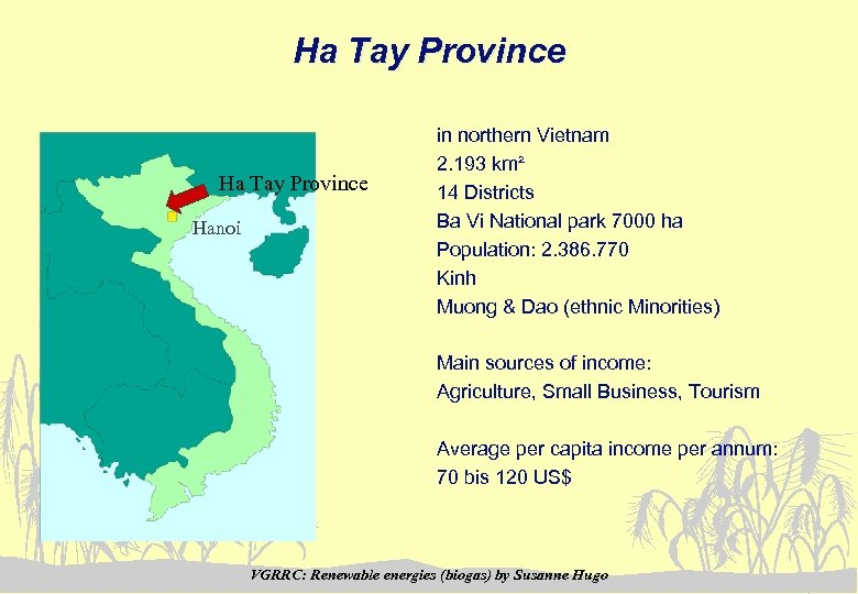 Ha Tay Province Hanoi in northern Vietnam 2. 193 km² 14 Districts Ba Vi