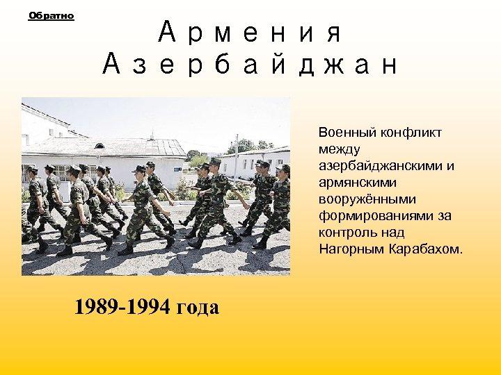 Обратно Армения Азербайджан Военный конфликт между азербайджанскими и армянскими вооружёнными формированиями за контроль над