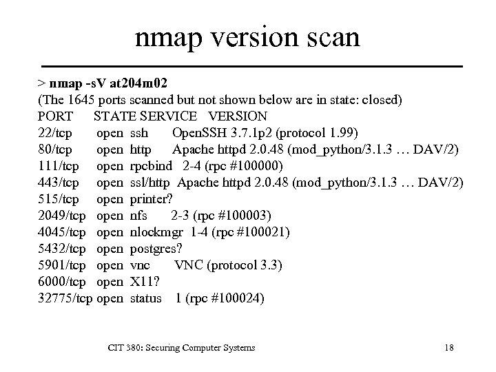 nmap version scan > nmap -s. V at 204 m 02 (The 1645 ports