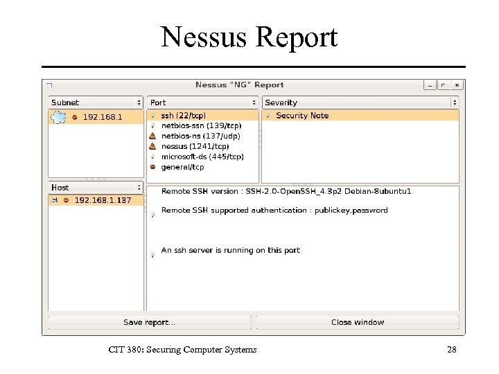 Nessus Report CIT 380: Securing Computer Systems 28