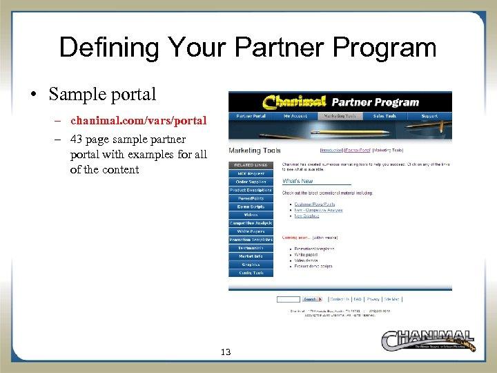 Defining Your Partner Program • Sample portal – chanimal. com/vars/portal – 43 page sample