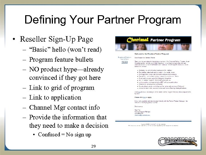 """Defining Your Partner Program • Reseller Sign-Up Page – """"Basic"""" hello (won't read) –"""