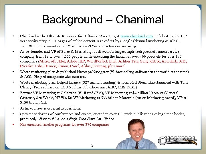 Background – Chanimal • Chanimal – The Ultimate Resource for Software Marketing at www.