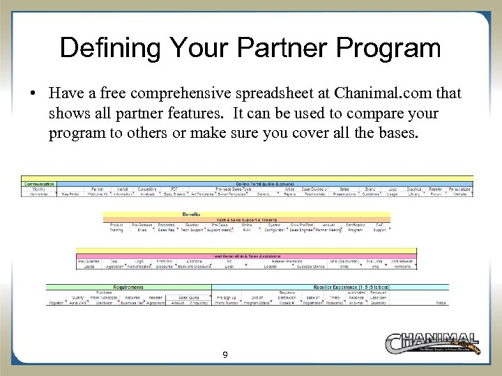 Defining Your Partner Program • Have a free comprehensive spreadsheet at Chanimal. com that