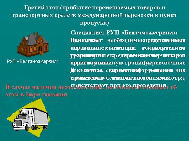 Третий этап (прибытие перемещаемых товаров и транспортных средств международной перевозки в пункт пропуска) Специалист
