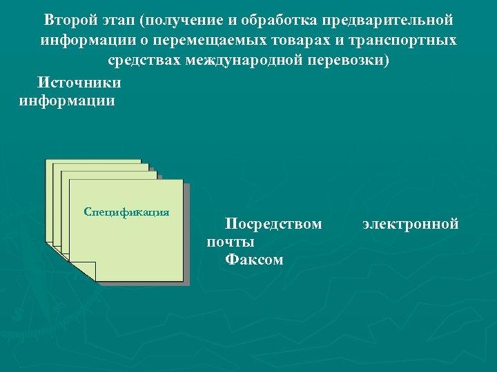 Второй этап (получение и обработка предварительной информации о перемещаемых товарах и транспортных средствах международной